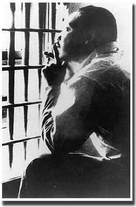 Martin Luther King Jr. in a jail cell