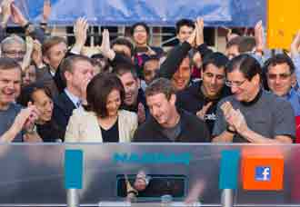 Mark Zuckerburg rings the opening bell at NASDAQ