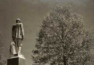 Devil Anse Hatfield stands guard over the Hatfiled cemetery Photo / Emery Jeffreys